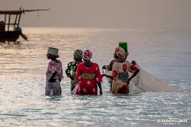 Femei care pescuiesc in Zanzibar