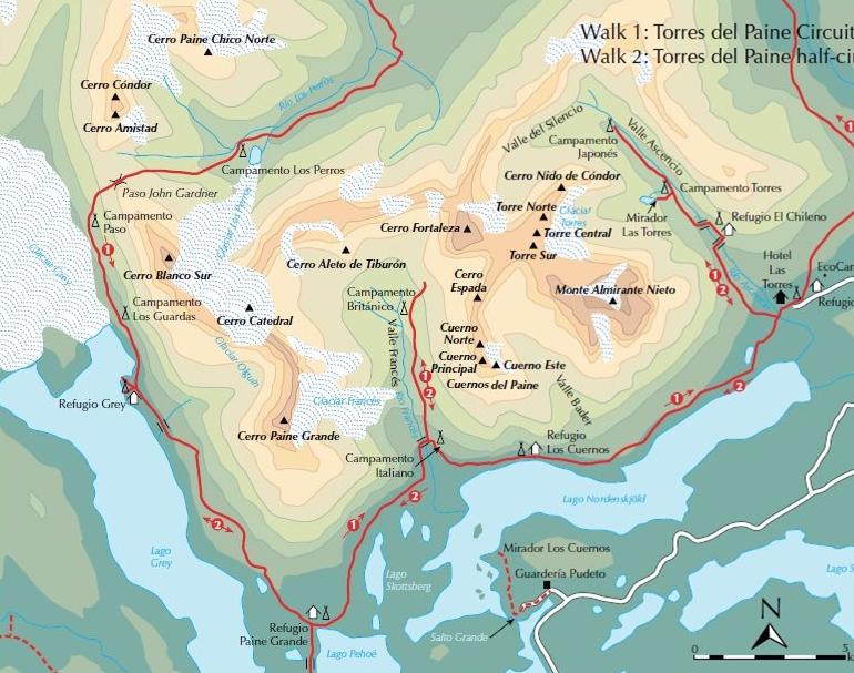 Harta circuit W Torres del Paine