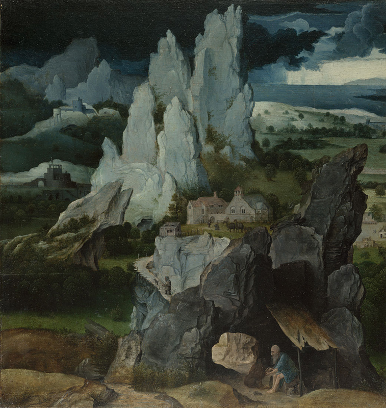 Workshop of Joachim Patinir, active 1515; died not later than 1524 Saint Jerome in a Rocky Landscape about 1515 Oil on oak, 36 × 33.7 cm Bequeathed by Mrs Henry Oppenheimer, 1936 NG4826 http://www.nationalgallery.org.uk/paintings/NG4826