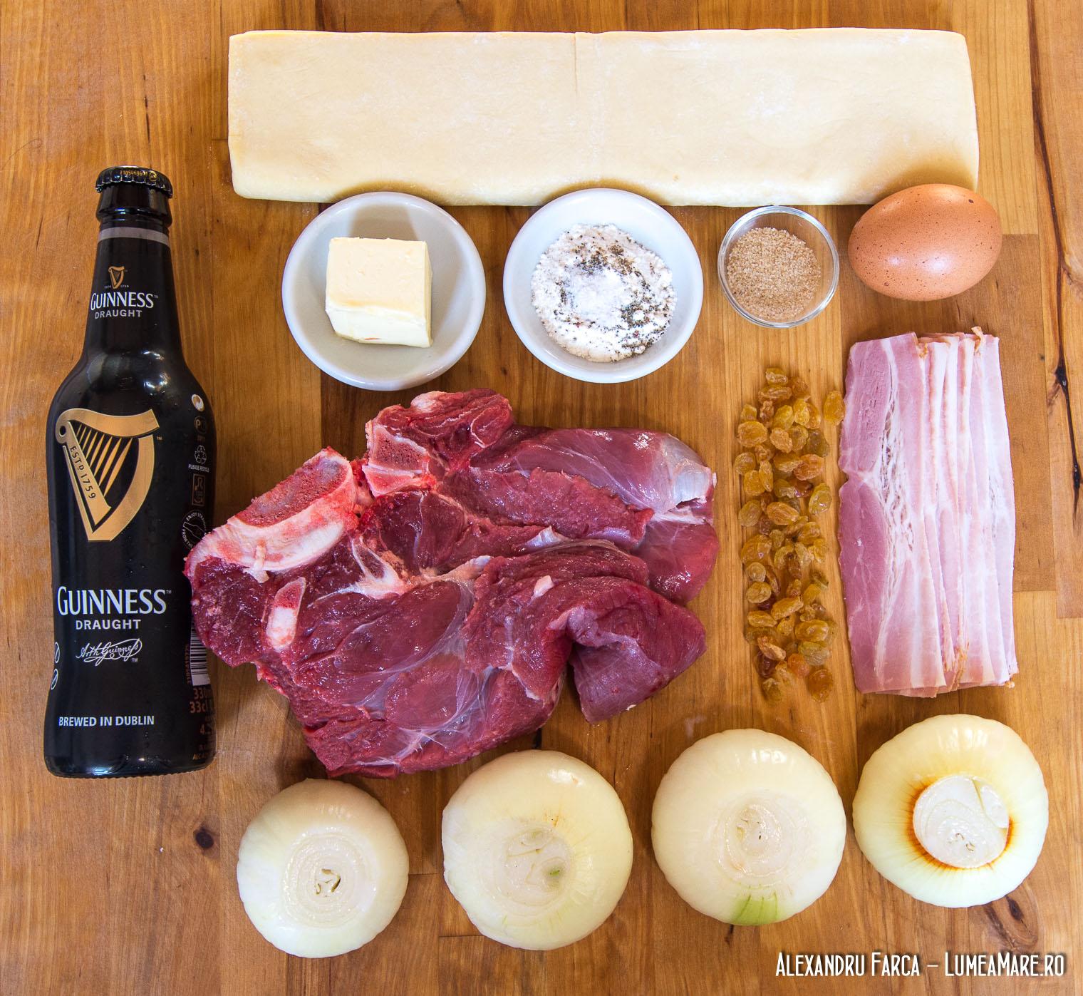 Ingrediente pentru plăcintă irlandeză cu vită şi bere Guinness