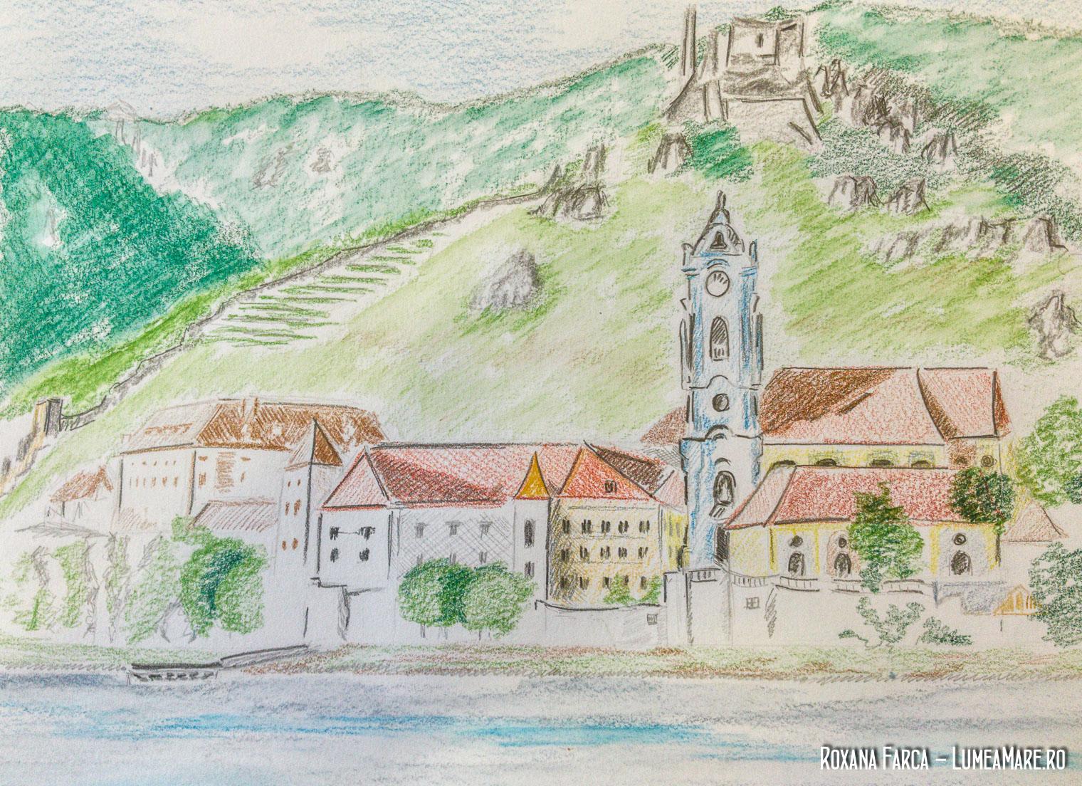 Ilustratie Durnstein, oras din Wachau,, desen de Roxana Farca