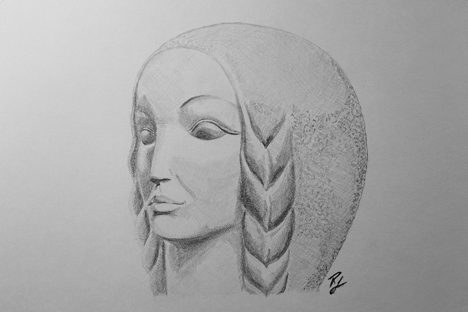 Desen inspirat de o sculptura de Clement Pompiliu