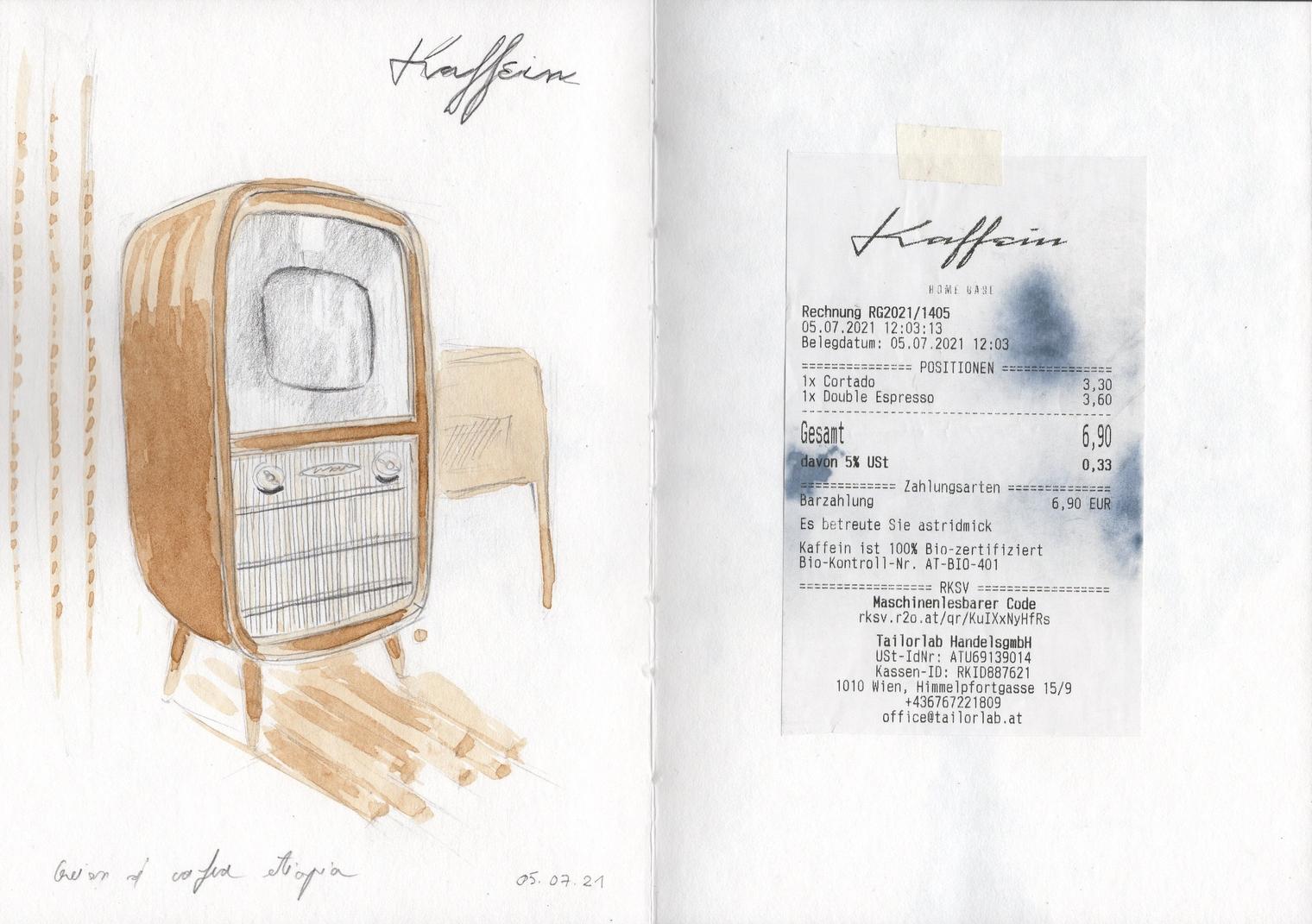 agină din caietul de schițe (televizor vechi la Kaffein). Desen în cafea și creion.